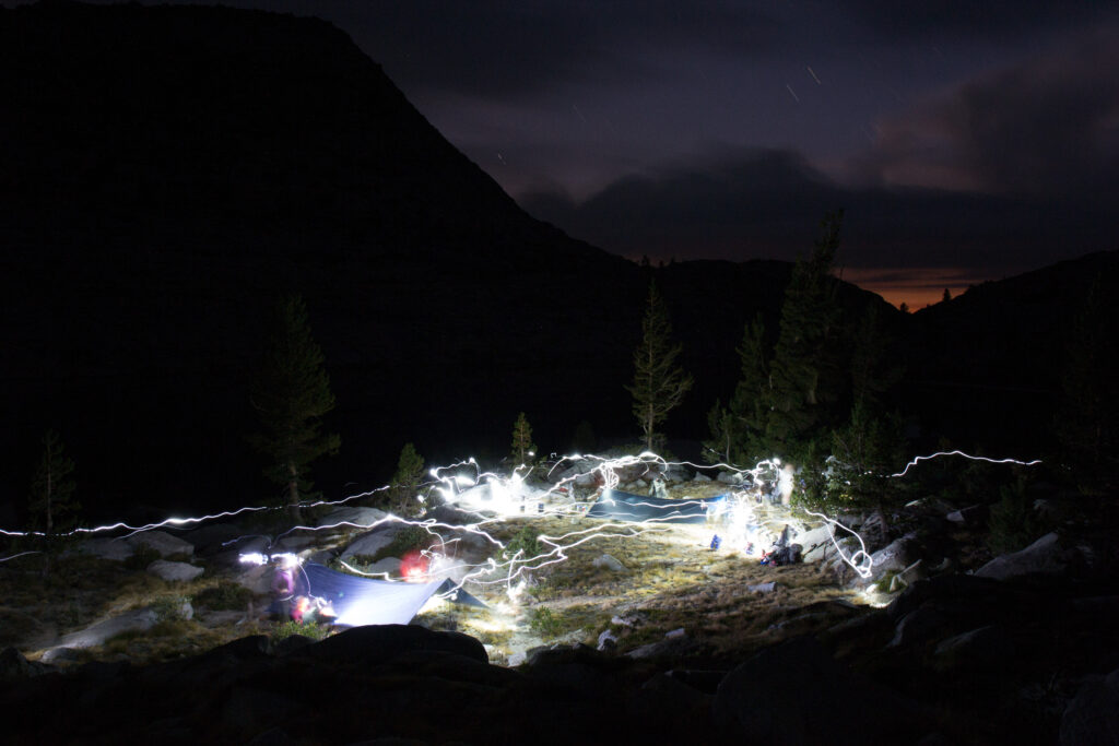 welcoming campsite at night