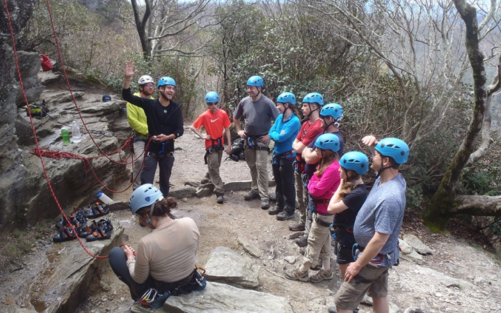 rock climbing and repelling for families