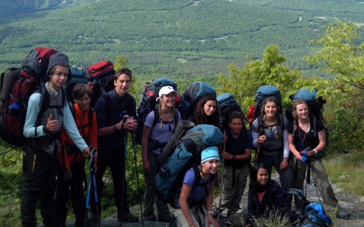 teens backpacking trip in maine