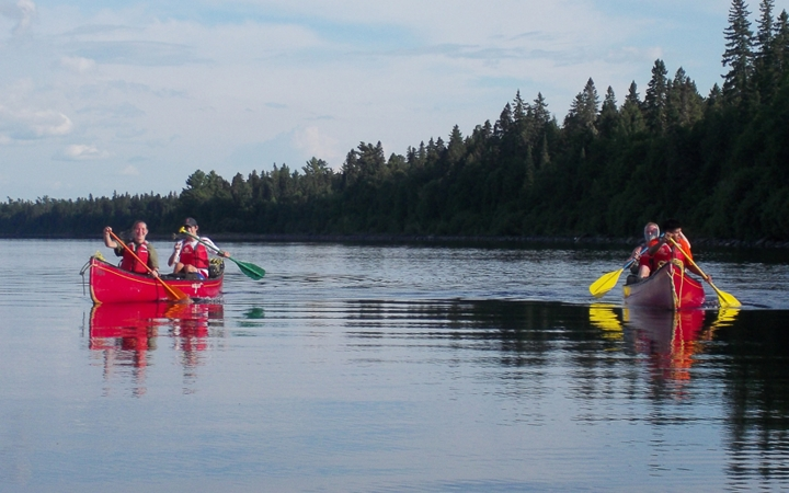 canoeing on outdoor leadership course