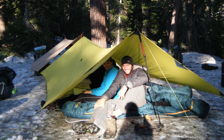 adults camping trip in california