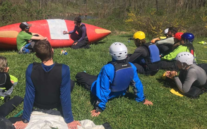 teens learn canoeing skills in blue ridge mountains