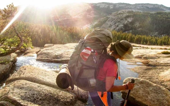 girls learn backpacking skills