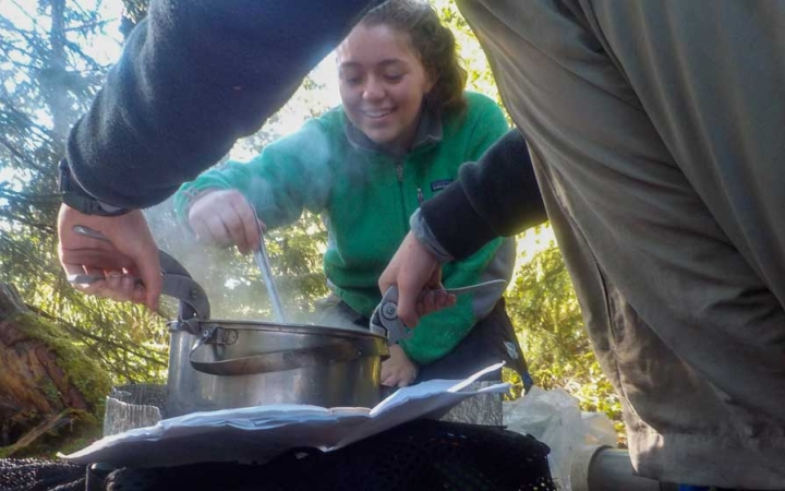 teens learn outdoor cooking skills