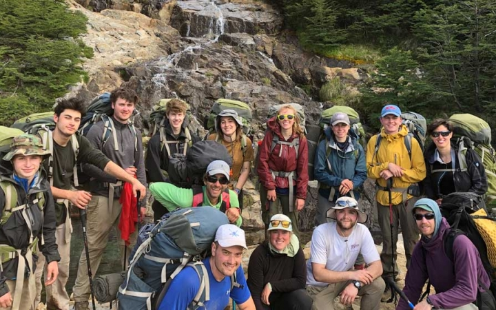 young adults outdoor expedition in patagonia