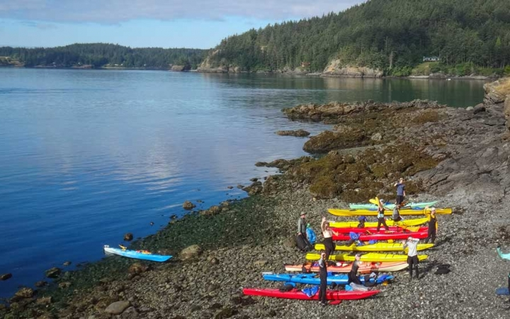 adults escape the daily grind on kayaking trip