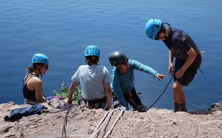 character development rock climbing camp