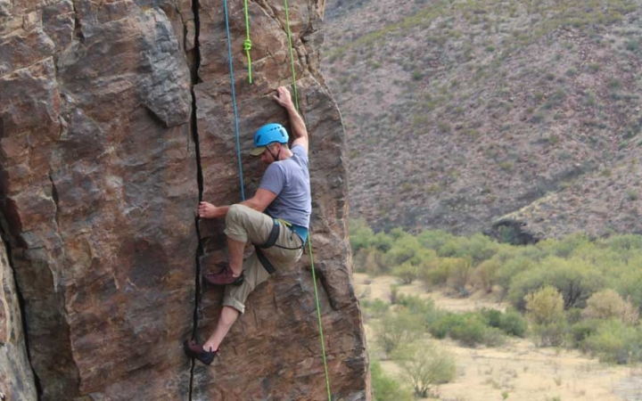 young adult rock climbing trip in texas