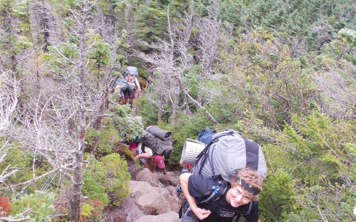 backpacking on outdoor leadership course